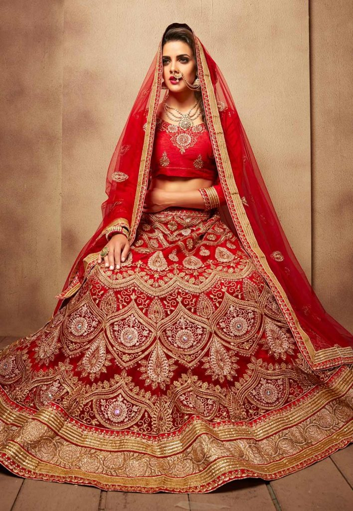 Women's Net Fabric & Royal Red Pretty Circular Lehenga Style