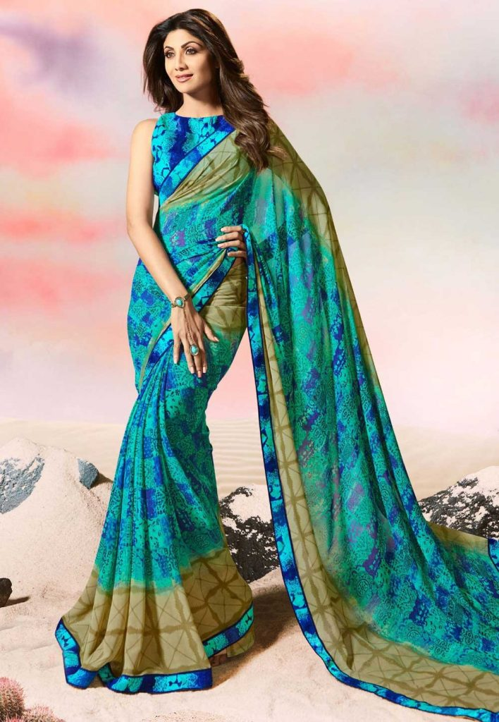 Blue Color Saree With Beautiful Printed Work