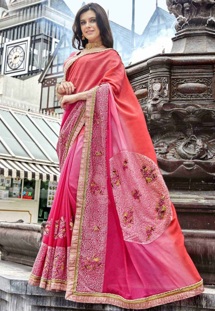Designer Bridal Saree in Pink Color