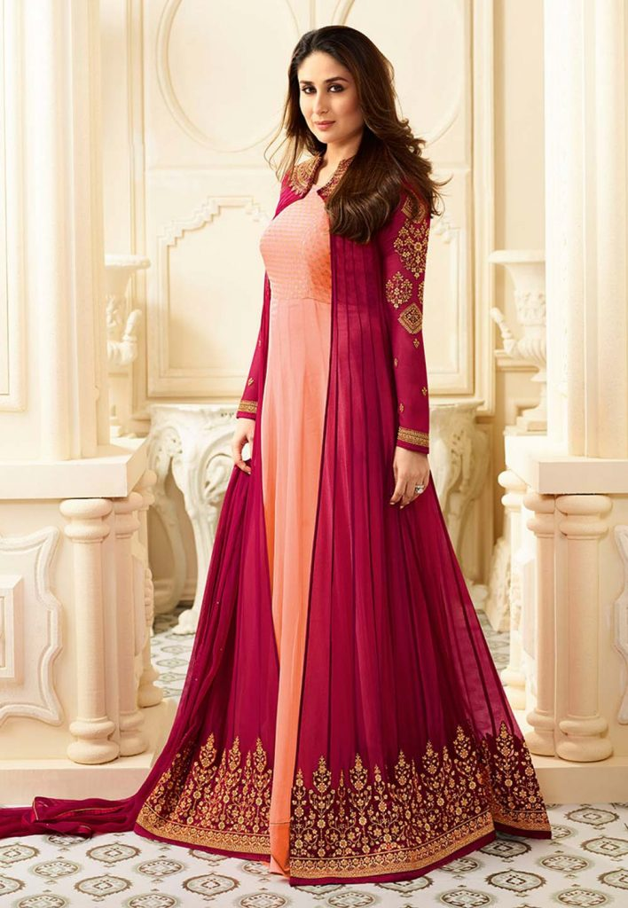 Light,Pink Color Anarkali Style Unstitched Salwar Kameez