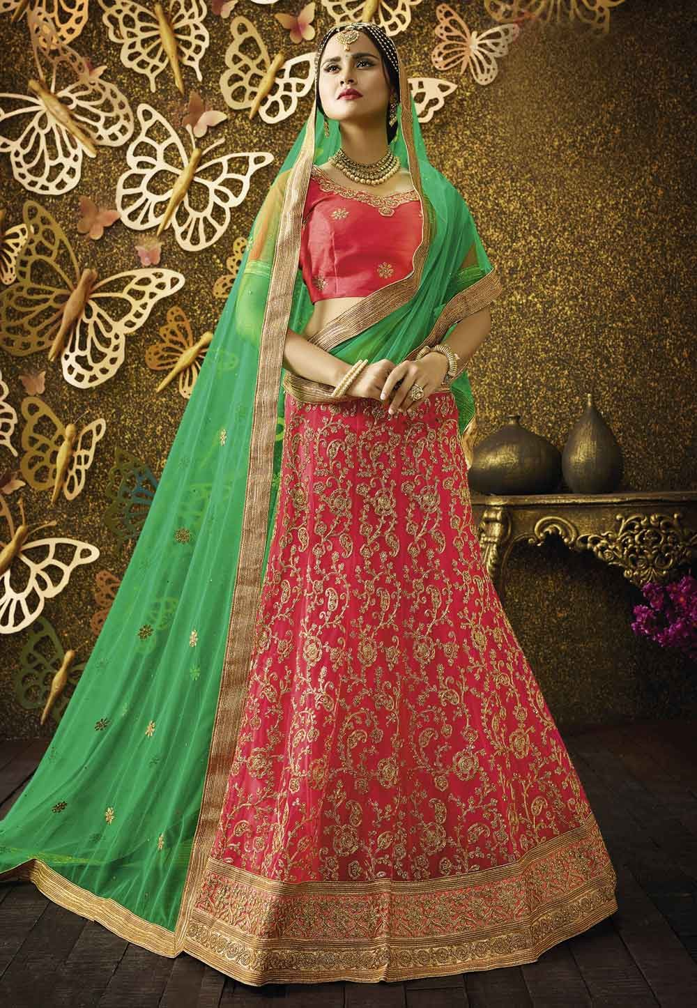 Red Pretty A Line Lehenga Style With Lace,Embroidery Work