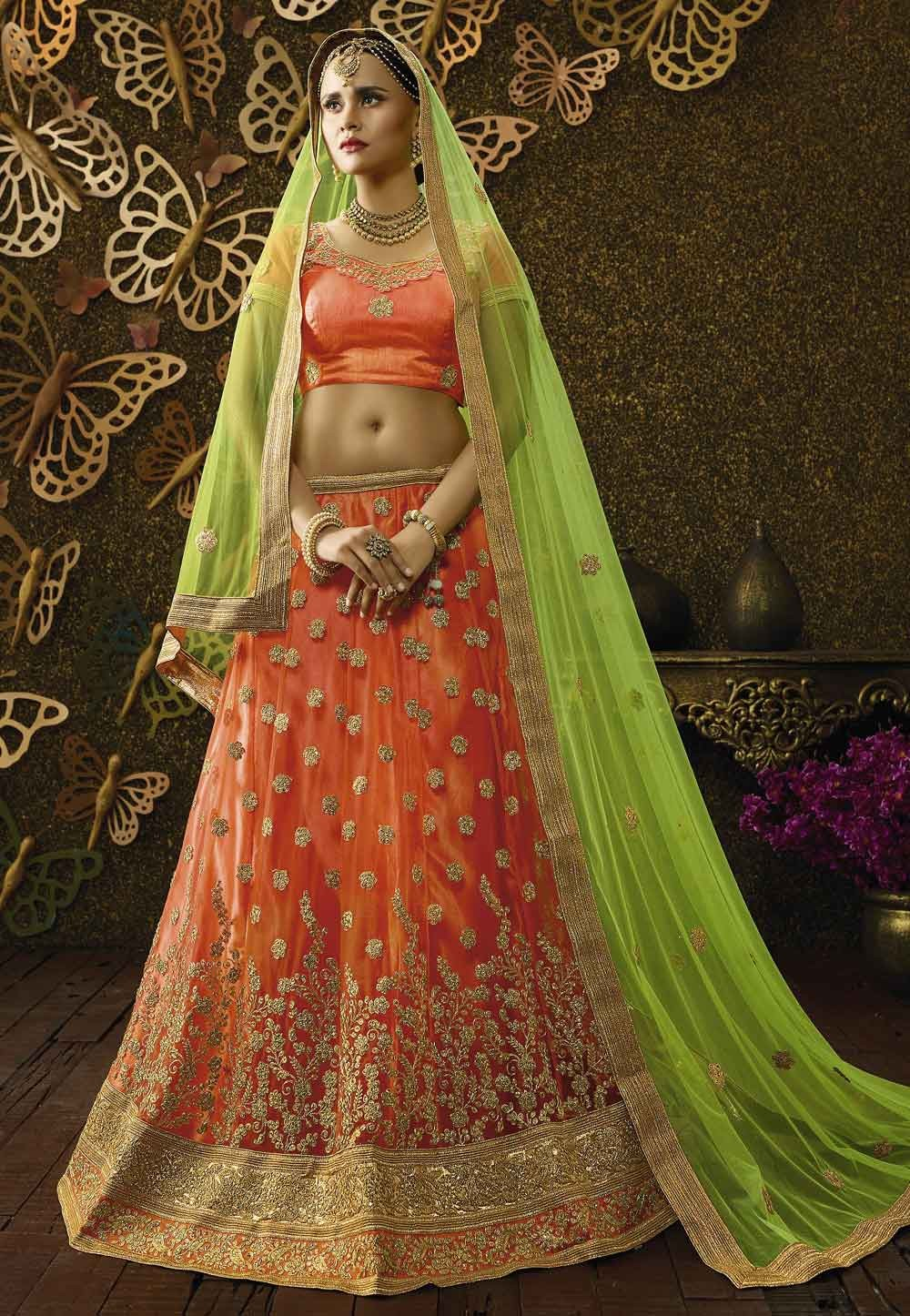 Orange Color & Net Fabric Pretty Unstitched Lehenga Choli