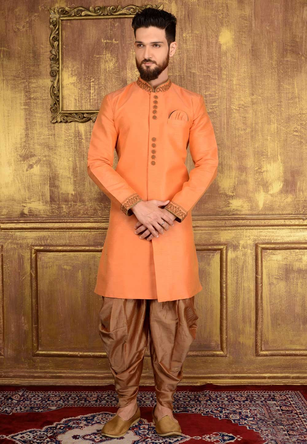 Men's Exquisite Peach Color Banarasi,Art Silk Readymade Kurta Pajama.