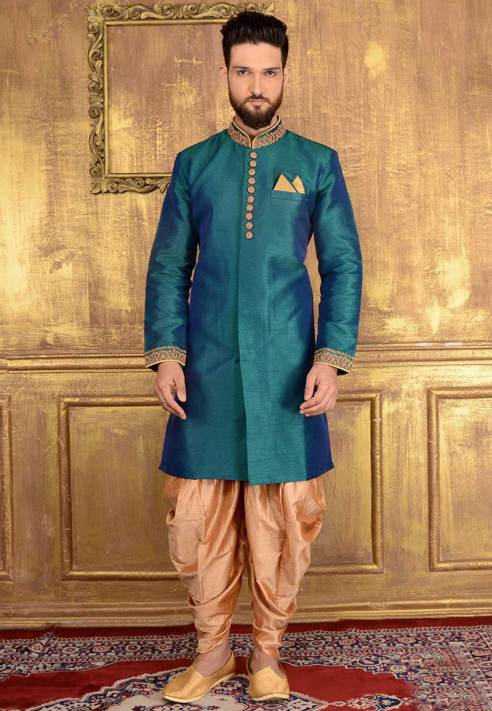 Exquisite Raglan Sleeves Green Color Readymade Kurta Pajama.