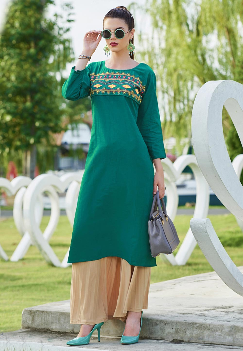 Green Color Readymade Kurti In Embroidery Work