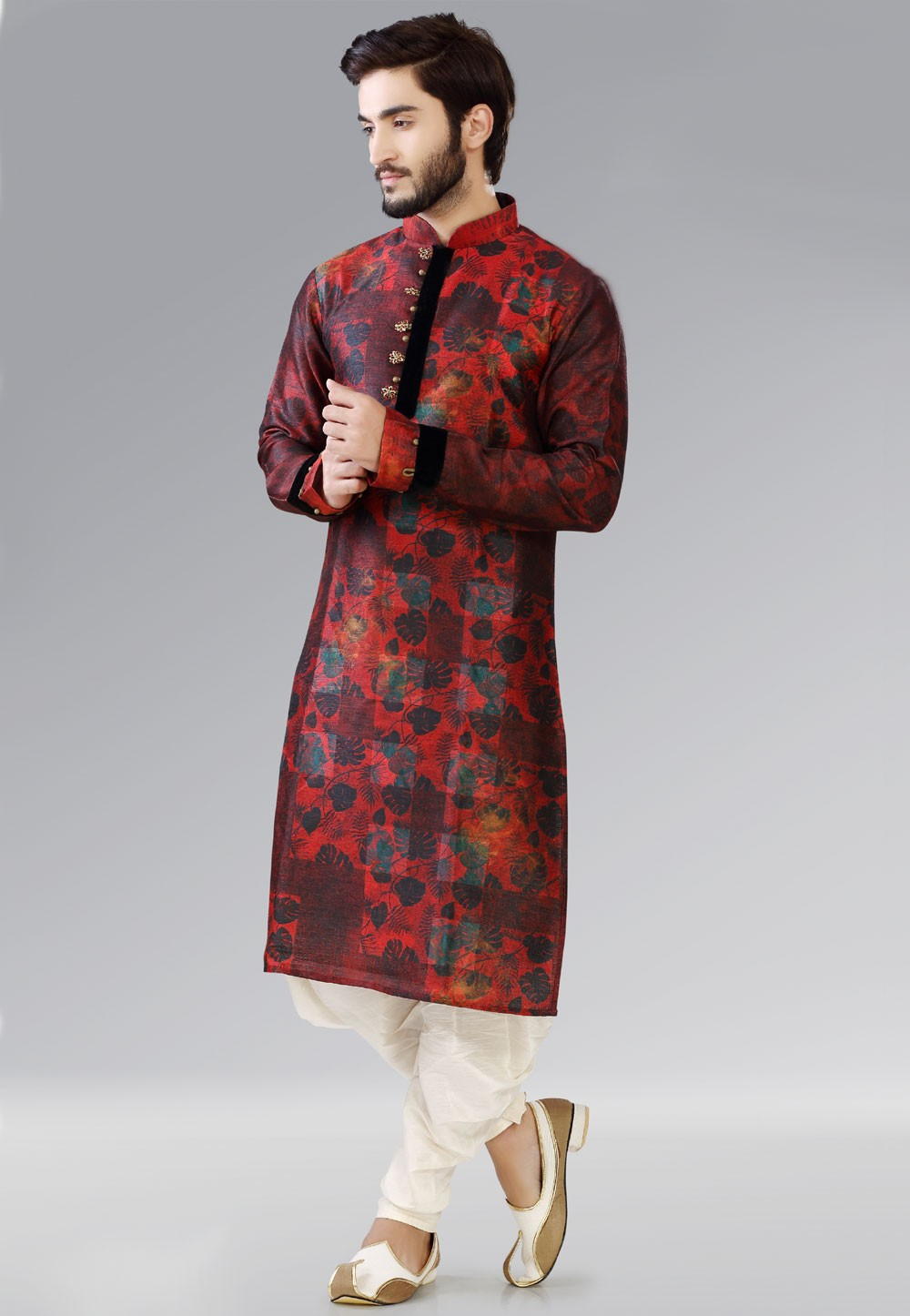 Dupion Silk Fabric Dark Red Color Readymade Kurta Pajama.