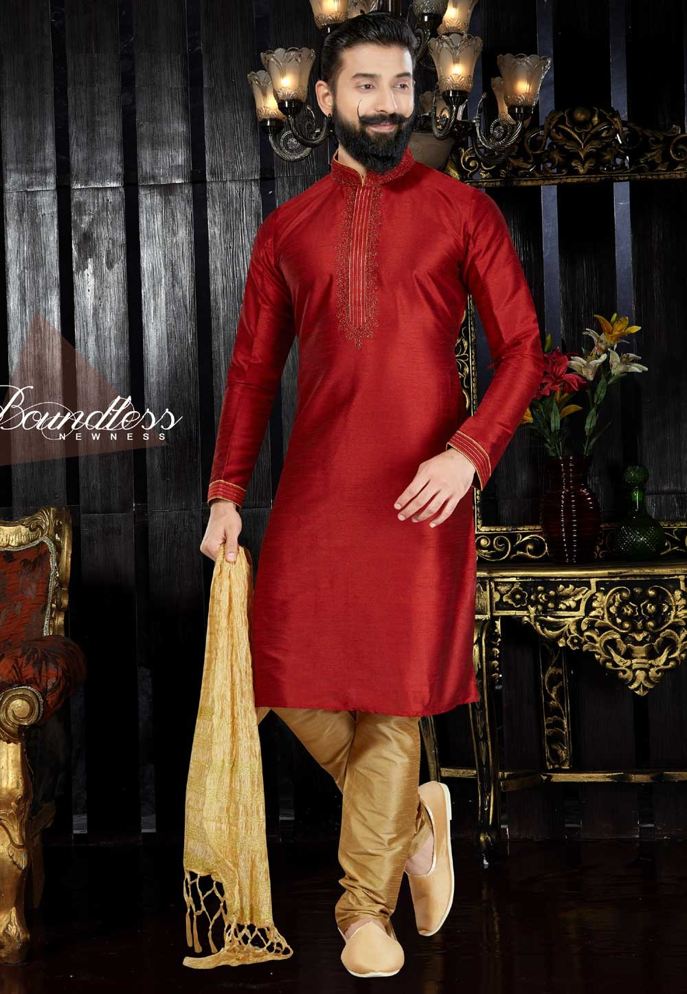Exquisite Dupion Art Silk & Maroon Color Men's Readymade Kurta