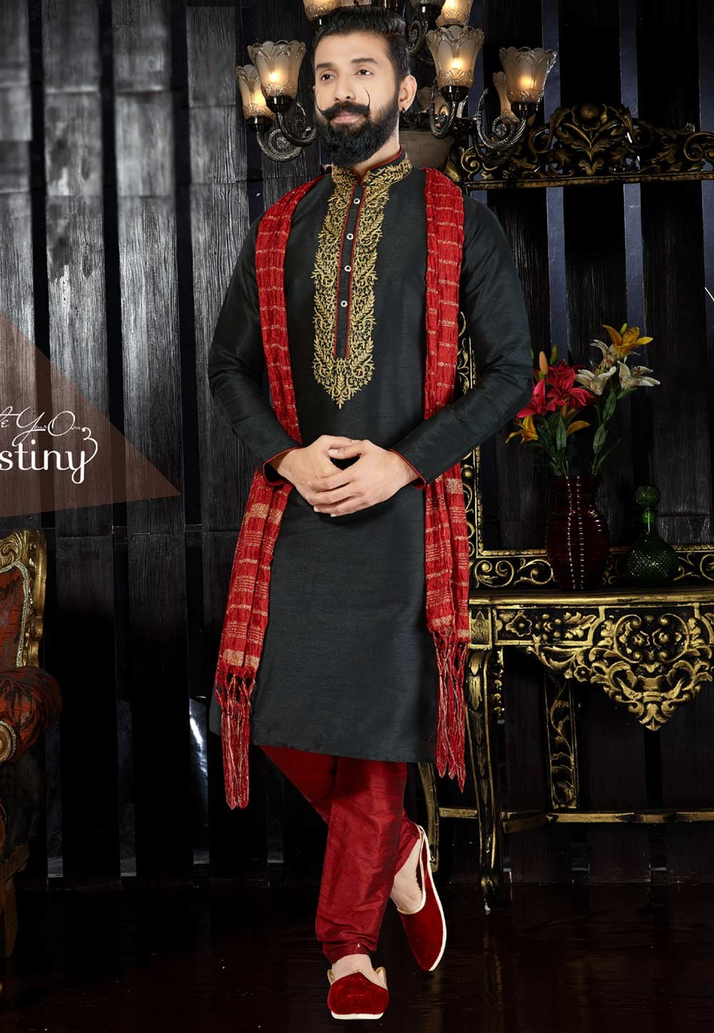 Men's Exquisite Black Color & Dupion Art Silk Readymade Kurta