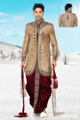Alluring Golden & Maroon Men`S Wear