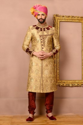 GOLD COLOUR RAVISHING GROOM SHERWANI