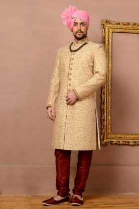 BEIGE COLOUR RAVISHING GROOM SHERWANI
