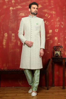 PISTA,GREEN COLOUR RAVISHING GROOM SHERWANI