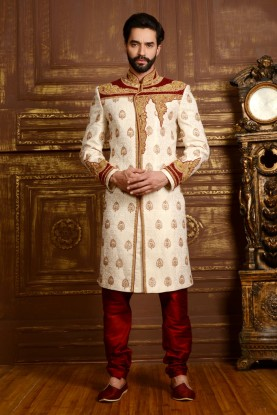 CREAM COLOUR LUSTROUS WEDDING SHERWANI