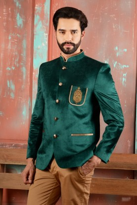 TRADITIONAL GREEN COLOR JODHPURI SUIT