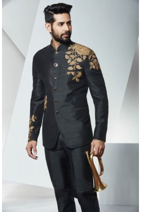 GRACEFUL BLACK JODHPURI SUIT