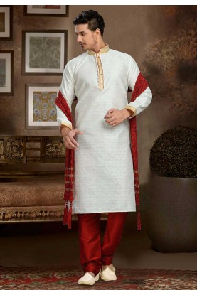 Cream Color & Jacquard,Art Silk Fabric Readymade Kurta Pajama