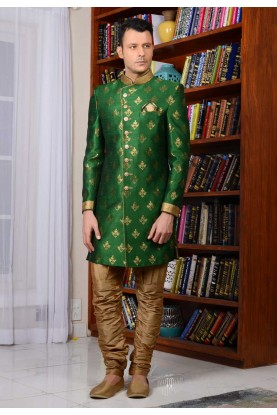 Green Color Banarasi Silk Indowestern For Men's