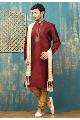 Men's Exquisite Maroon Color Dupion Art Silk Readymade Kurta Pajama.