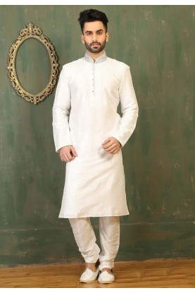 Off White Color Dupion Art Silk Fabric Readymade Kurta Pajama.