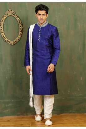 Men's Dupion Art Silk with Royal Blue Color Readymade Kurta Pajama.