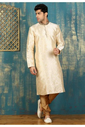 Beige,Golden Color Satin,Brocade Readymade Kurta Pajama.