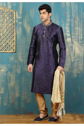 Exquisite Navy Blue,Black Color Satin,Brocade Readymade Kurta Pajama For Men's