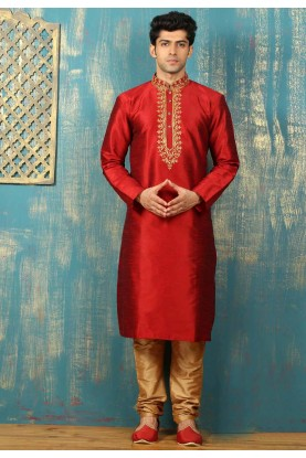 Dupion Art Silk with Red Color Readymade Kurta Pajama.