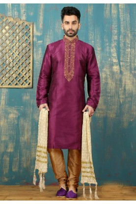 Magenta Color Dupion Art Silk Readymade Kurta Pajama.
