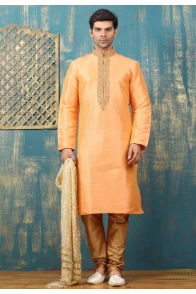 Peach Color Art Silk Men's Readymade Kurta Pajama.