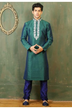 Art Silk & Green Color Men's Readymade Kurta Pajama.