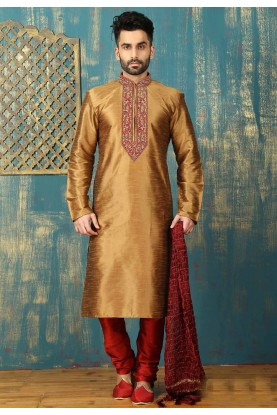 Exquisite Dupion Art Silk & Brown Color Men's Readymade Kurta Pajama.
