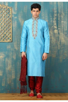 Turquoise Color Dupion Art Silk Fabric Readymade Kurta Pajama.