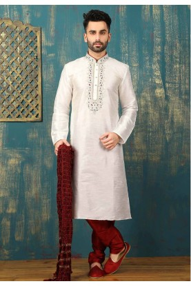 Off White Color Dupion Art Silk Readymade Kurta Pajama.