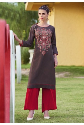 Brown Color & Cotton Fabric Readymade Kurti