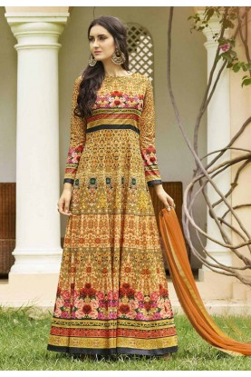 Yellow Color Anarkali Salwar Kameez in Imported Fabric