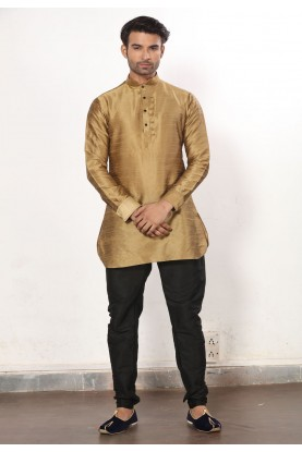 Beige Color Dupion Silk Men's Readymade Kurta Pajama.