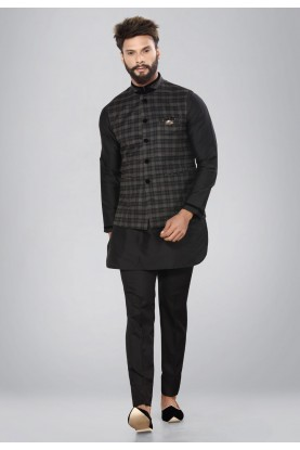Banarasi Silk & Black Color Men's Readymade Kurta Pajama.