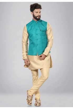 Exquisite Green,Golden Color Dupion Silk Readymade Kurta For Men's