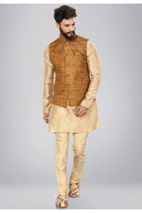Brown,Golden Color Dupion Silk Readymade Kurta Pajama.