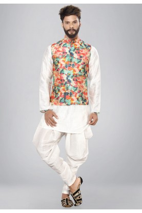 Exquisite White Color Dupion Silk Readymade Kurta Pajama.
