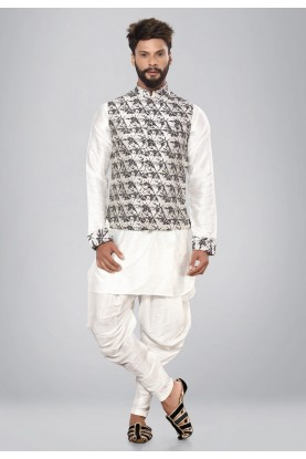 Black,White Color Dupion Silk Readymade Kurta Pajama.