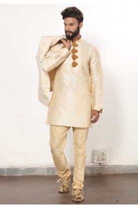 Men's Exquisite Golden Color Dupion Silk Readymade Kurta Pajama.