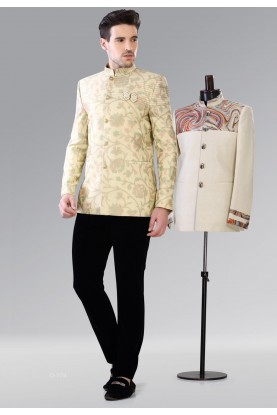 DESIGNER LIGHT YELLOW COLOR JODHPURI SUIT