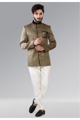 GREEN,BROWN COLOR ELEGANT JODHPURI DESIGNER SUIT
