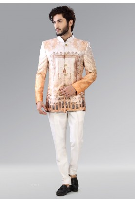 IMPRESSIVE BROWN,BEIGE COLOR JODHPURI SUIT