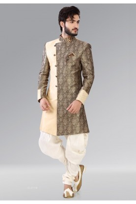 Striking Cream,Brown Color Men's Indo Western