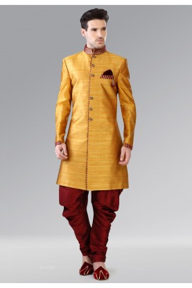 Attractive Yellow Color Banarasi Silk Men's Indo Western