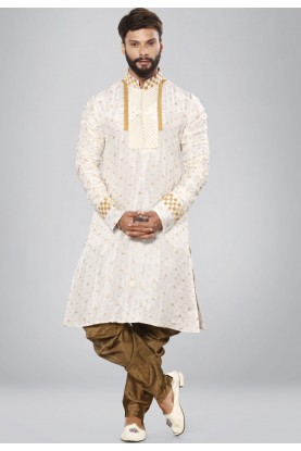 Exquisite Men's White,Golden Color Readymade Kurta Set