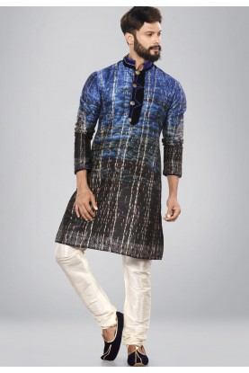 Men's Dupion Silk Blue,Black Color Readymade Kurta Set