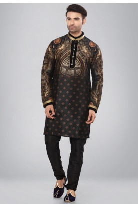 Black,Golden Color Dupion Silk Kurta Pajama.